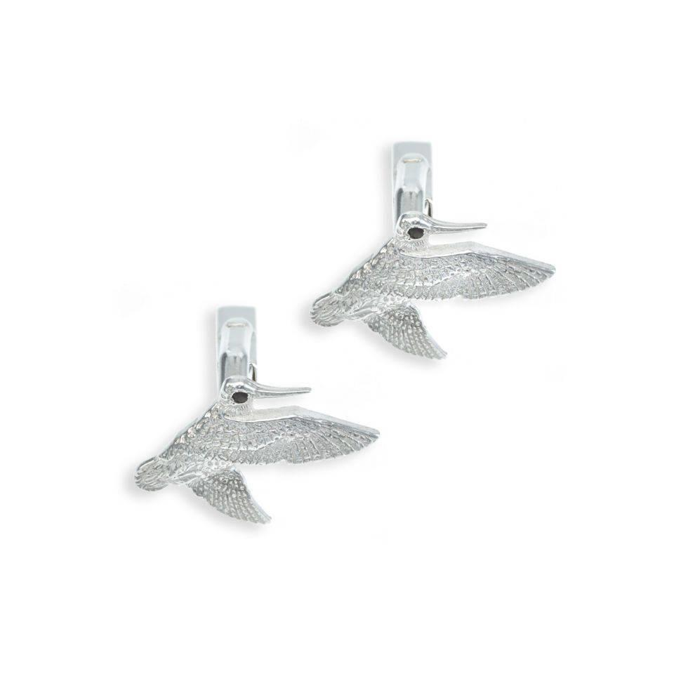 Solid Silver Field Sports Cufflinks, Jinking Woodcock