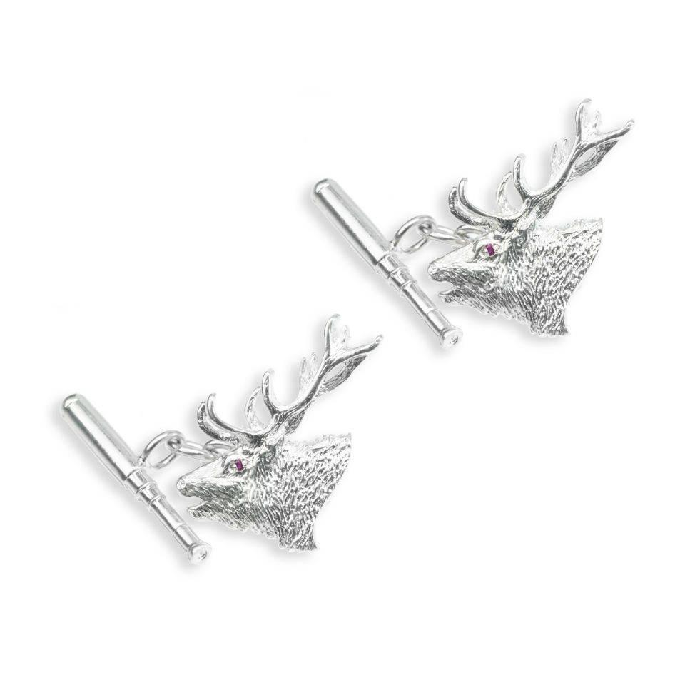 Solid Silver Sports Cufflinks, Roaring Stag & Telescope