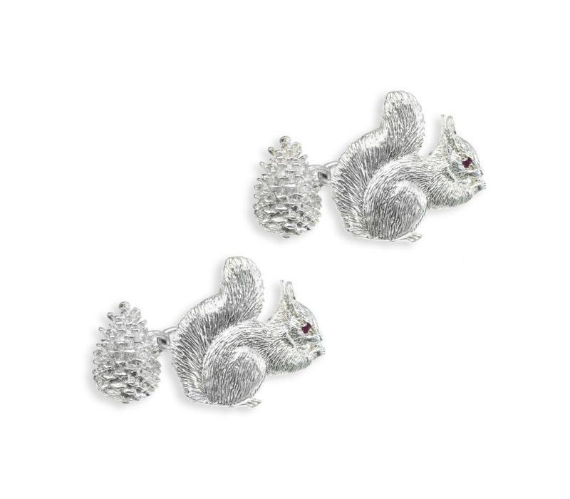 Solid Silver Field Sports Cufflinks, Squirrel