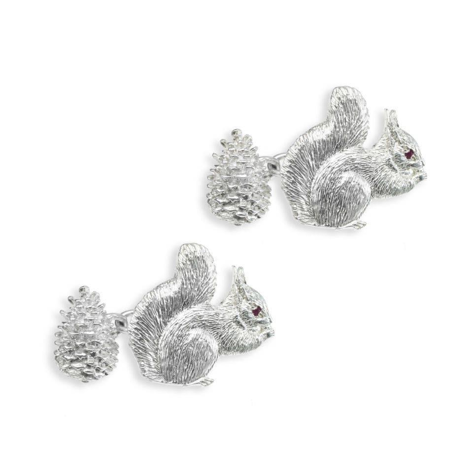 Solid Silver Field Sports Cufflinks, Squirrel