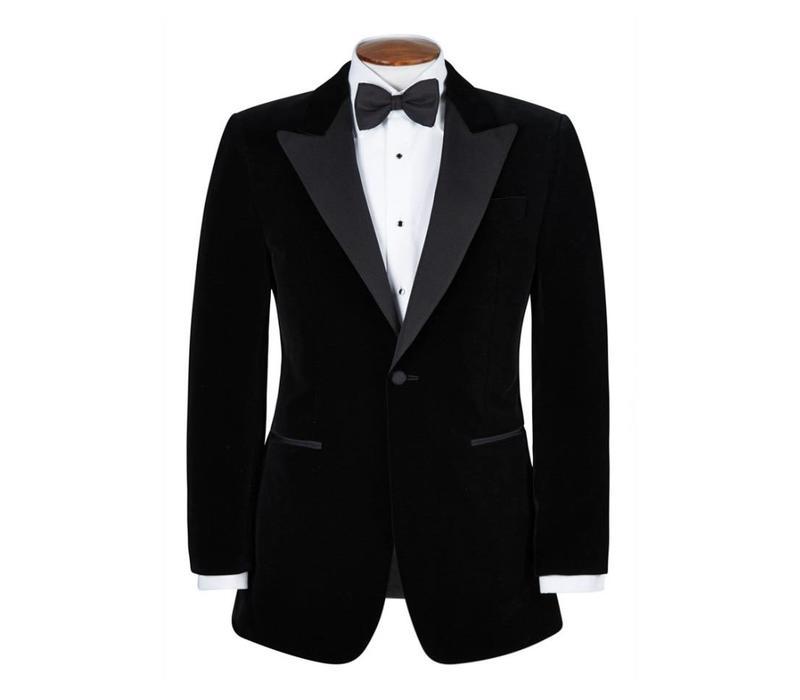 Silk Smoking Jacket, with Peak Lapels - Black Silk