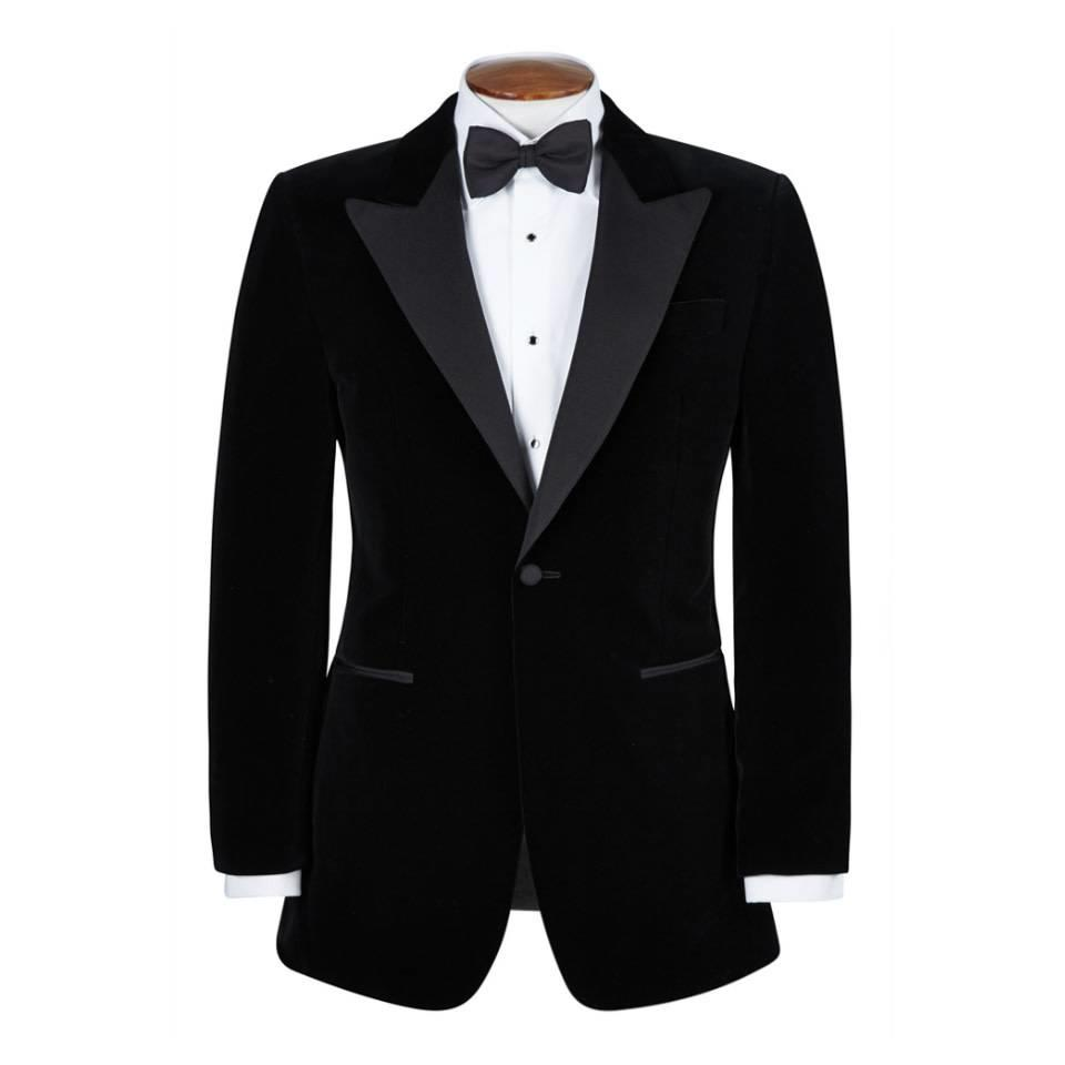 Silk Smoking Jacket, with Peak Lapels - Black Silk