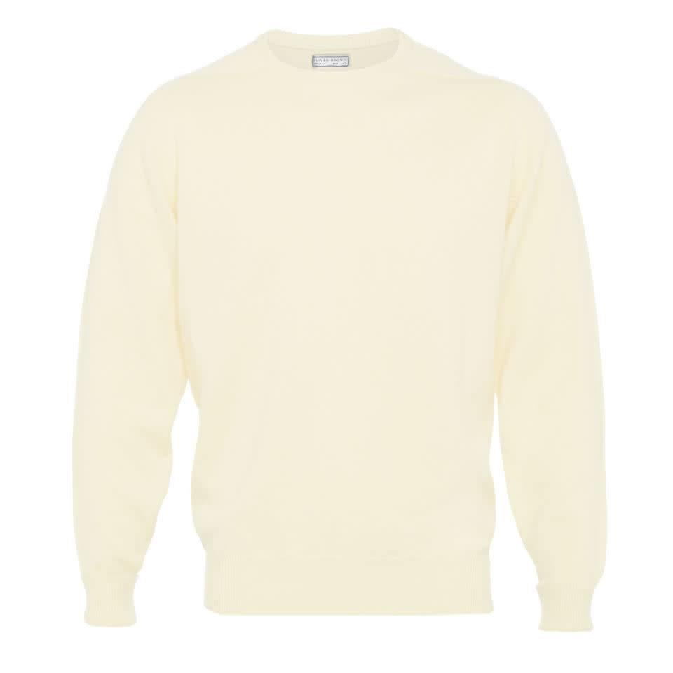 Cashmere Crew Neck Jumpers - White Undyed