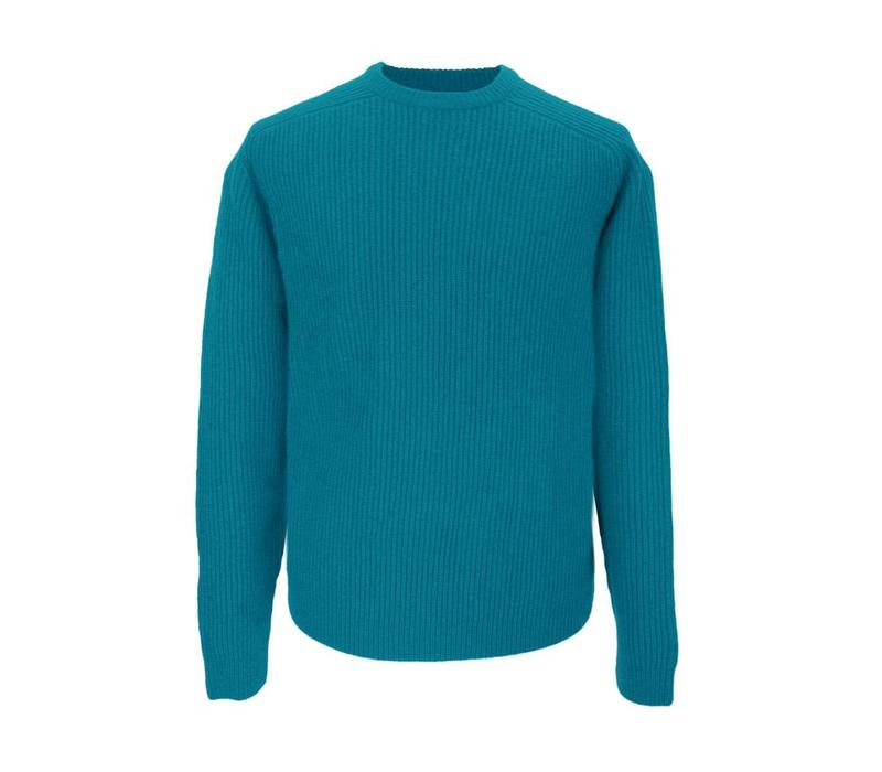 Lambswool Rib Stitch Crew Neck - Seafoam