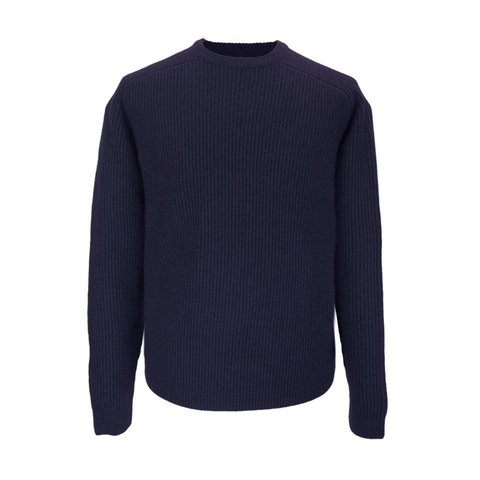 Lambswool Rib Stitch Crew Neck - Navy