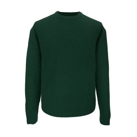 Lambswool Rib Stitch Crew Neck - Evergreen