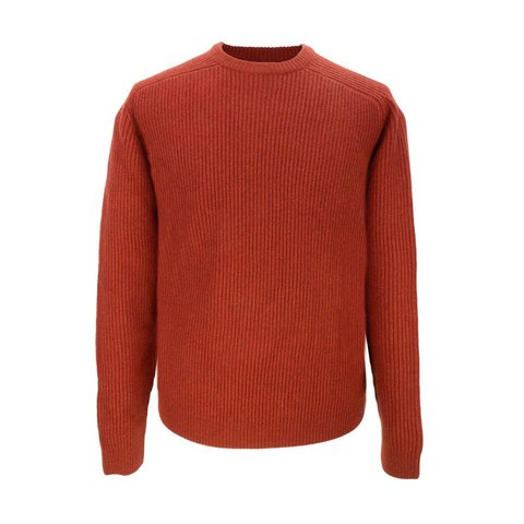 Lambswool Rib Stitch Crew Neck - Chilli