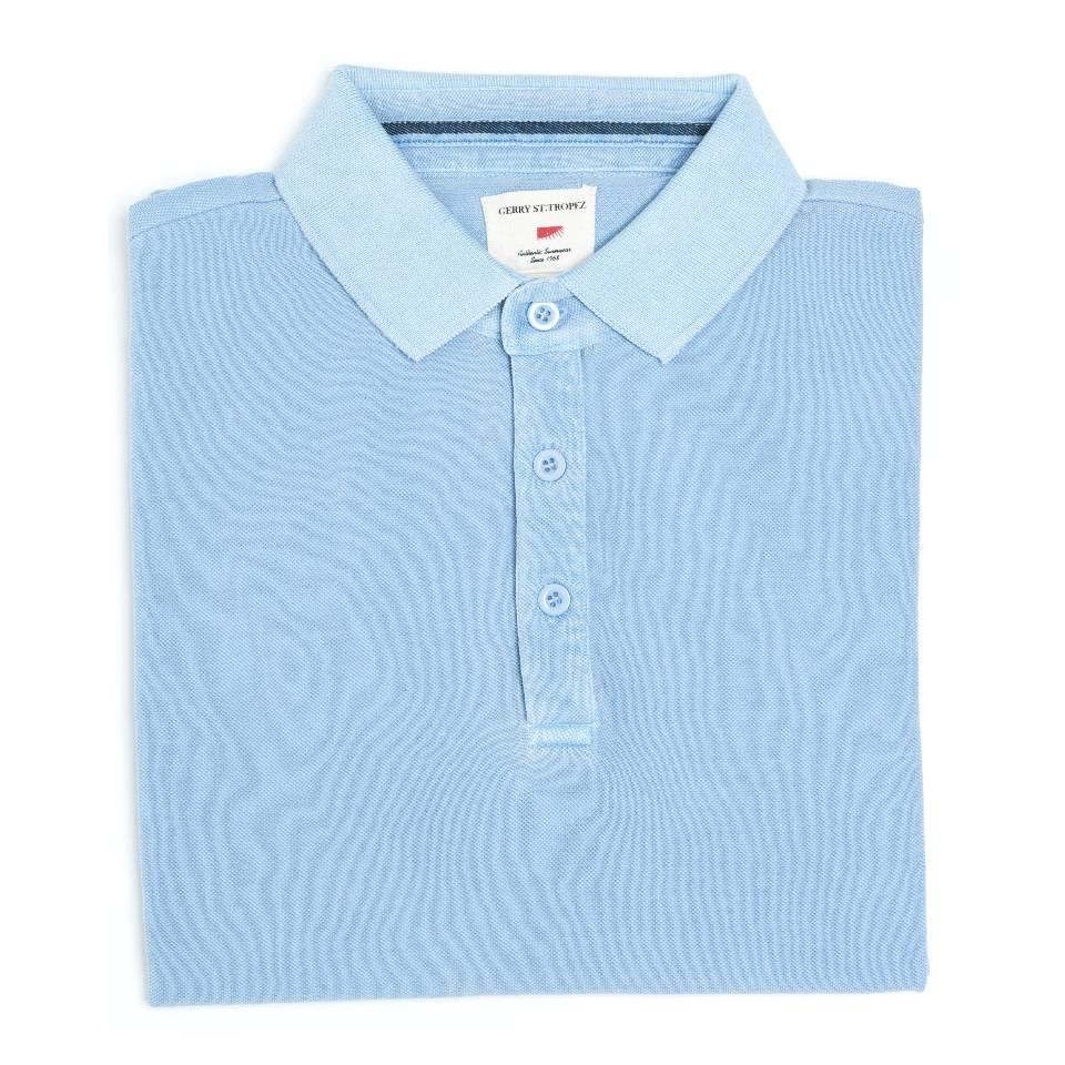 Polo Shirt, Pique - Pale Blue