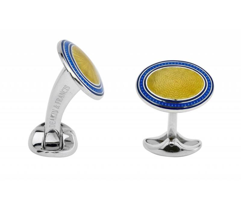 Sterling Silver Navy Blue, Royal Blue & Bright Yellow Enamel Cufflinks