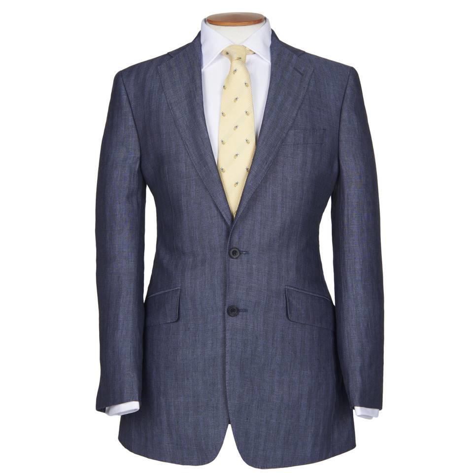 Single Breasted Herringbone Linen Jackets - Blue Bronze