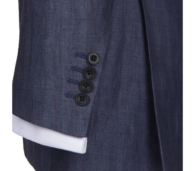 Eaton Jacket - Blue Bronze Herringbone Linen