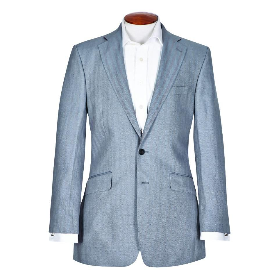 Eaton Jacket - Pale Blue Herringbone Linen