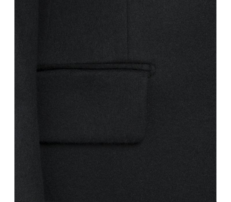 Double Breasted Wool Overcoat - Navy