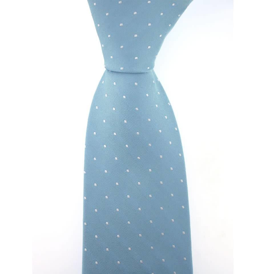 Woven Silk Tie, Square Pattern - Pale Blue with White