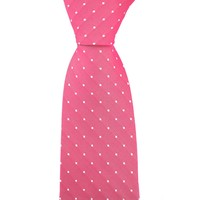 Woven Silk Tie, Square Pattern - Pink with White