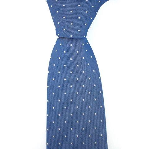 Woven Silk Tie, Square Pattern - Blue