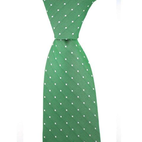 Woven Silk Tie, Square Pattern - Green