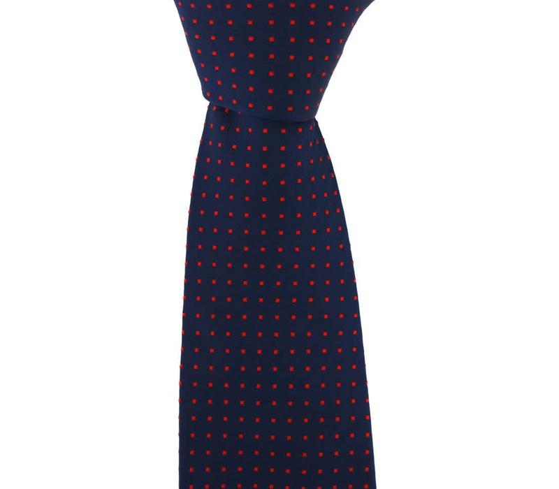 Woven Silk Tie, Square Pattern - Navy with Red Squares