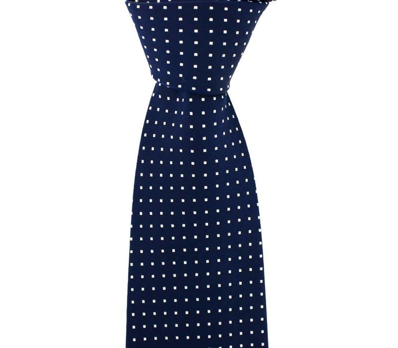 Woven Silk Tie, Square Pattern - Navy with White Squares