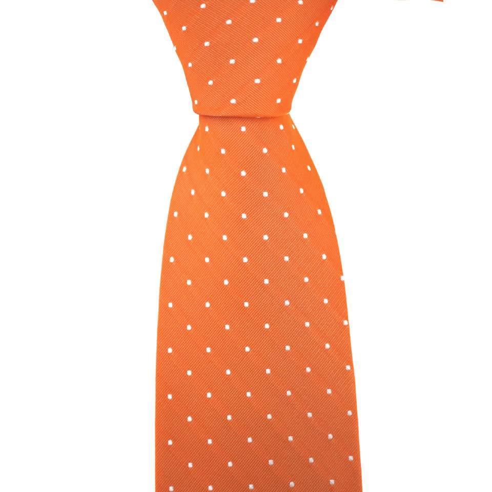 Woven Silk Tie, Square Pattern - Orange