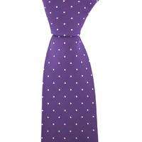 Woven Silk Tie, Square Pattern - Purple