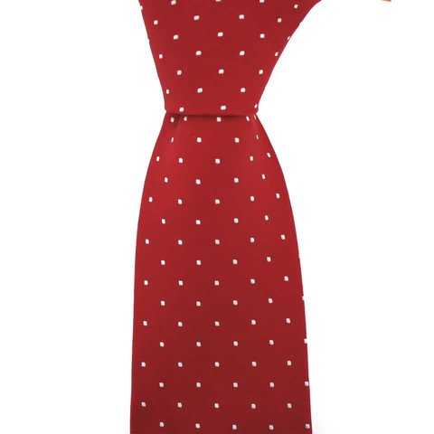 Woven Silk Tie, Square Pattern - Red