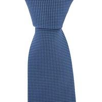 Woven Silk Tie, Checked - Blue