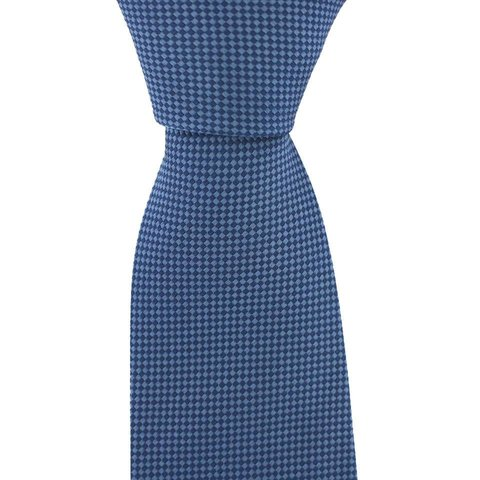 Woven Silk Tie, Checked - Blue