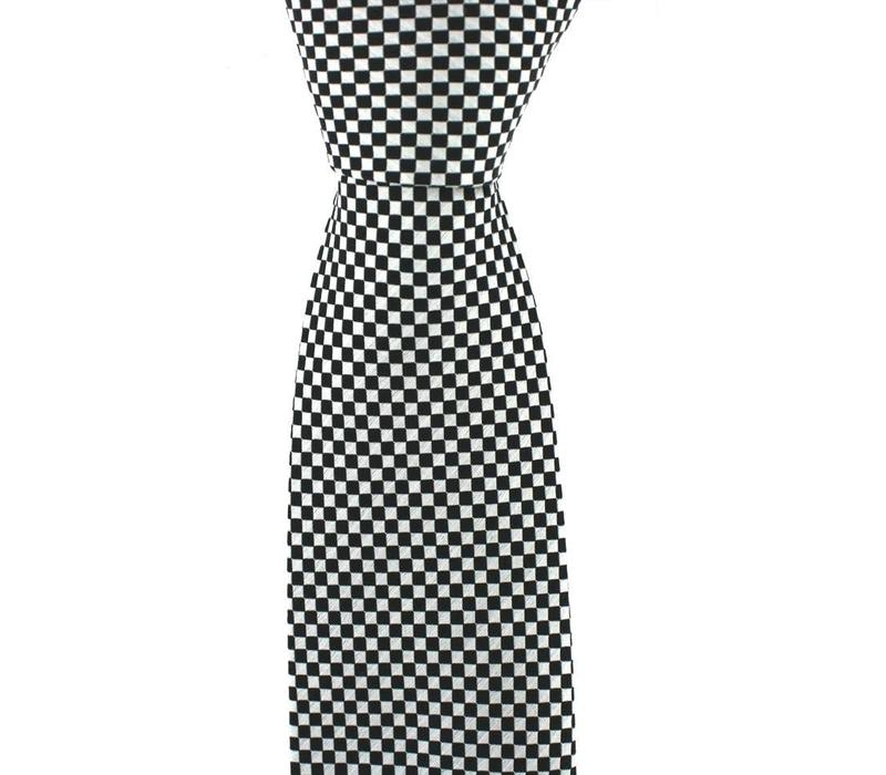 Woven Silk Tie, Checked - Black and White