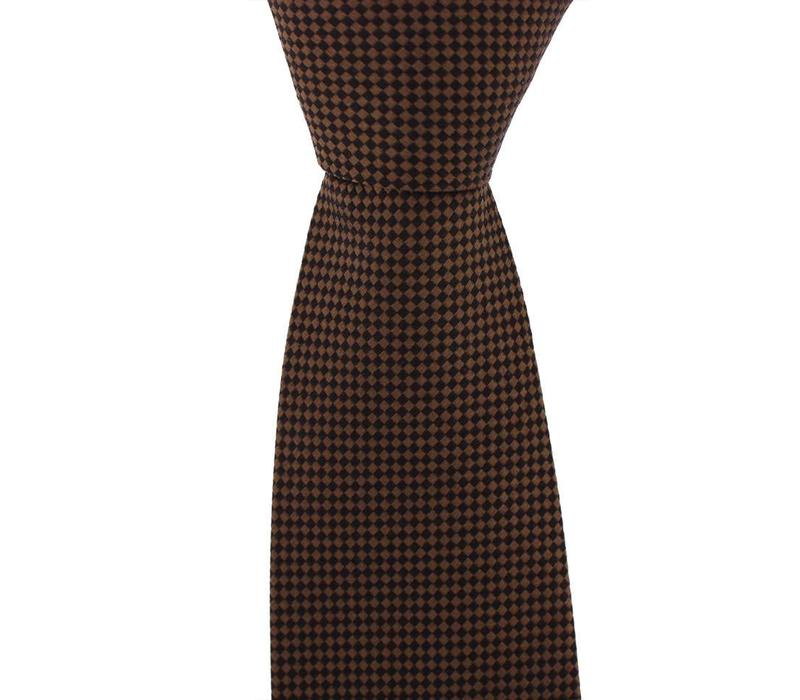 Woven Silk Tie, Checked - Brown