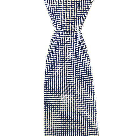 Woven Silk Tie, Checked - Cream