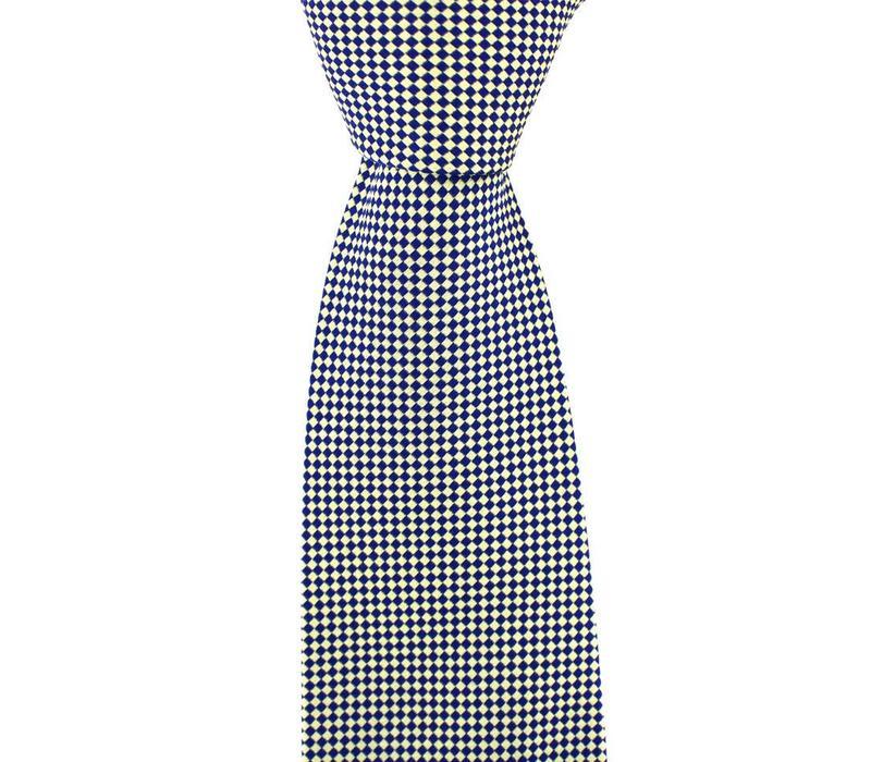 Woven Silk Tie, Checked - Cream