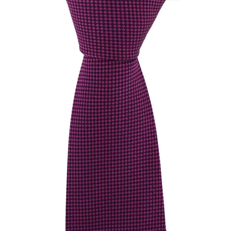 Woven Silk Tie, Checked - Fuchsia