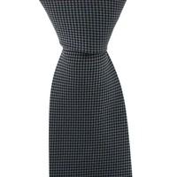 Woven Silk Tie, Checked - Grey