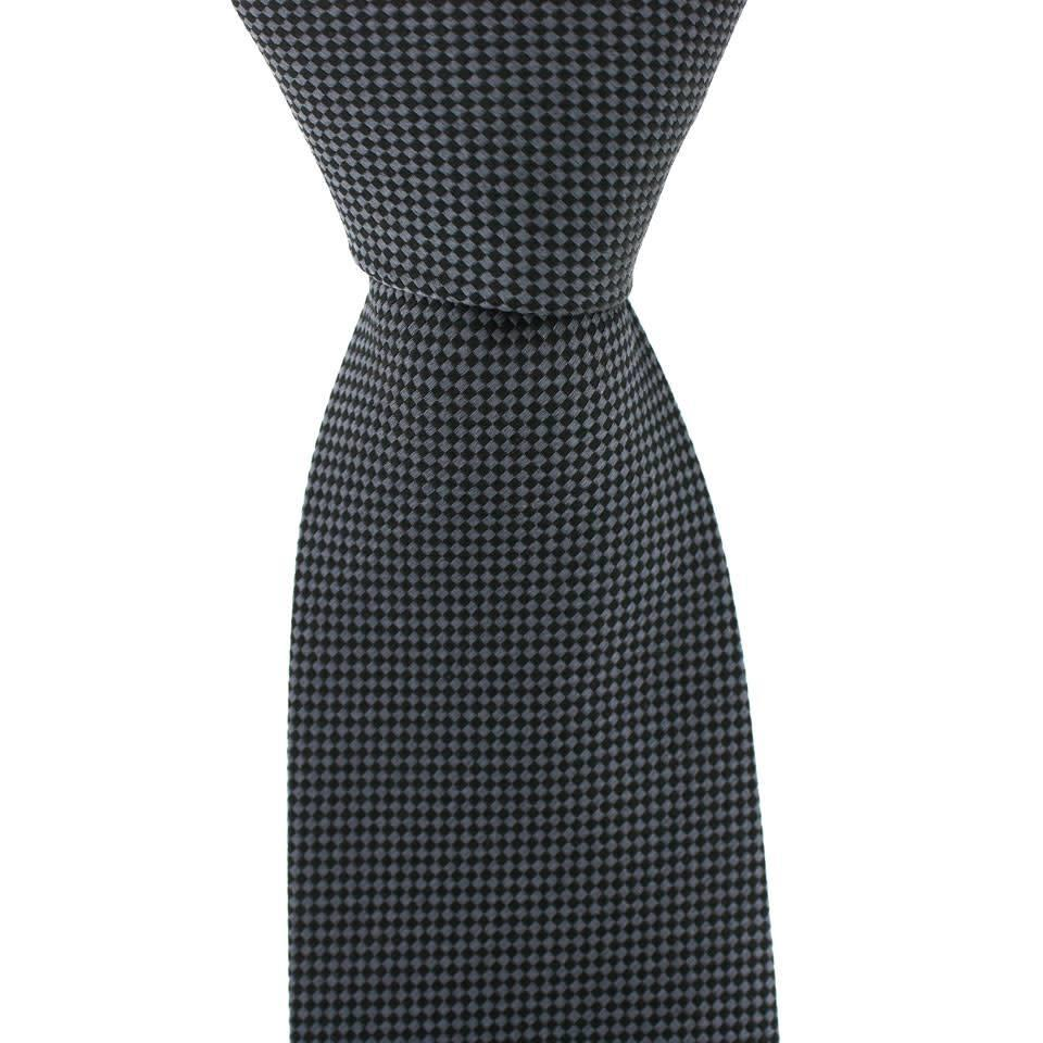 Woven Silk Tie, Checked - Grey