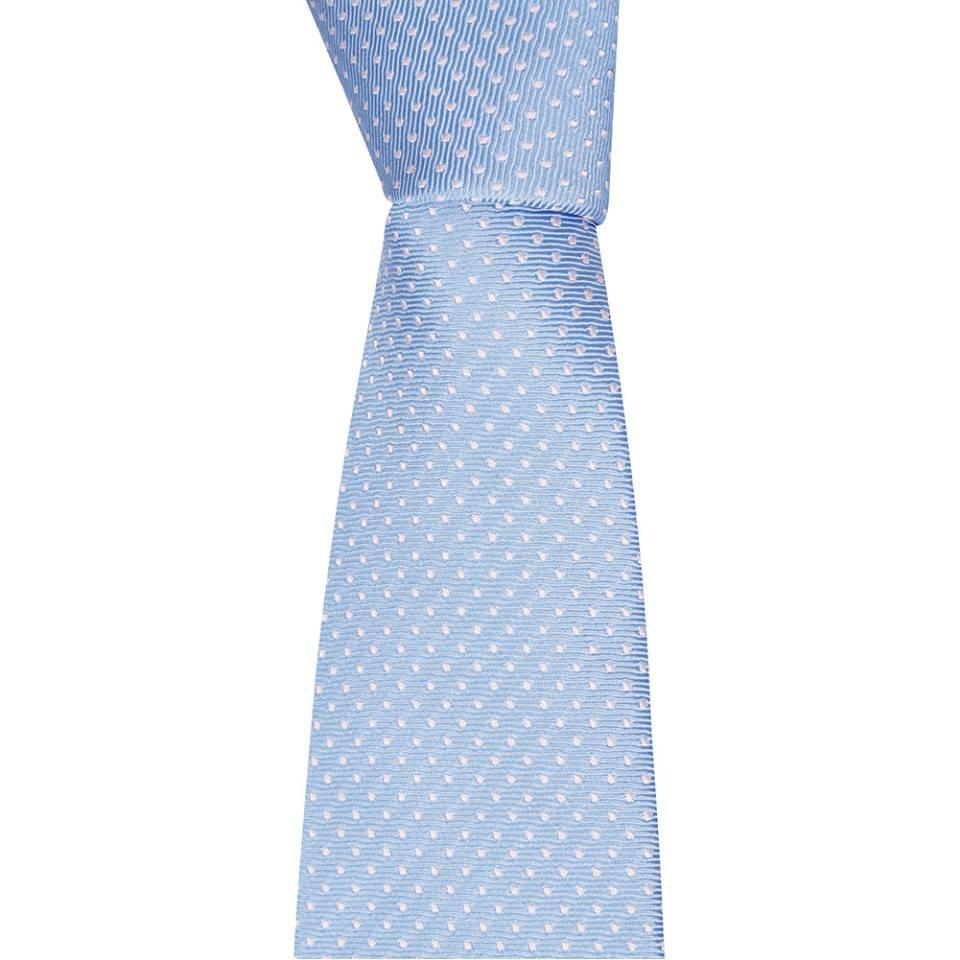 Woven Silk Tie, Spotted - Baby Blue/Pink