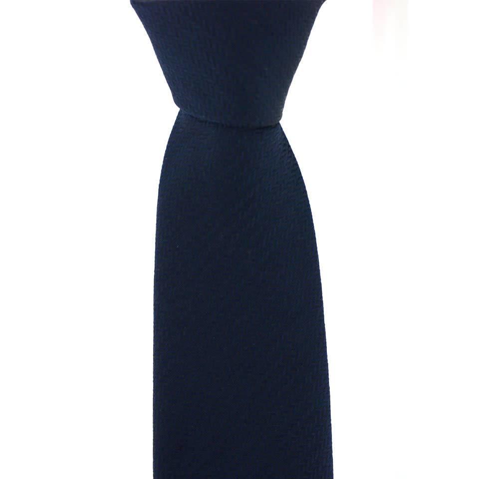 Woven Silk Tie, Herringbone - Navy