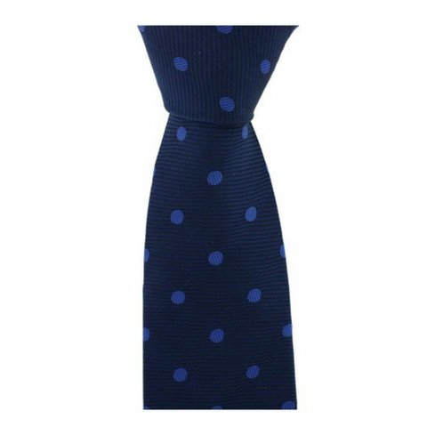 Woven Silk Tie, Spotted - Navy/Sky Blue
