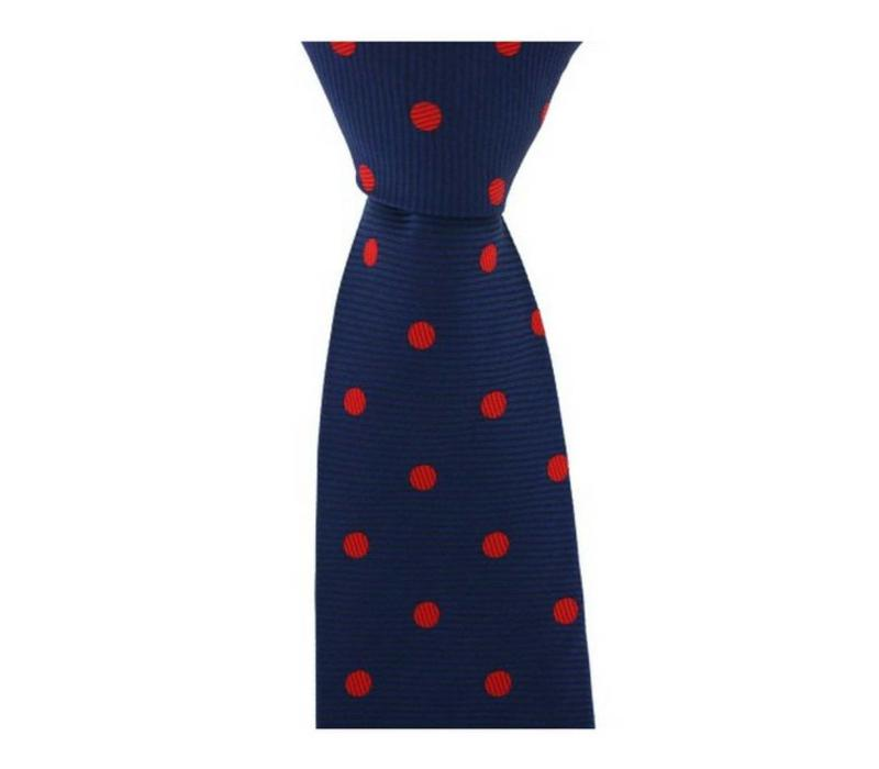 Woven Silk Tie, Spotted - Navy/Red