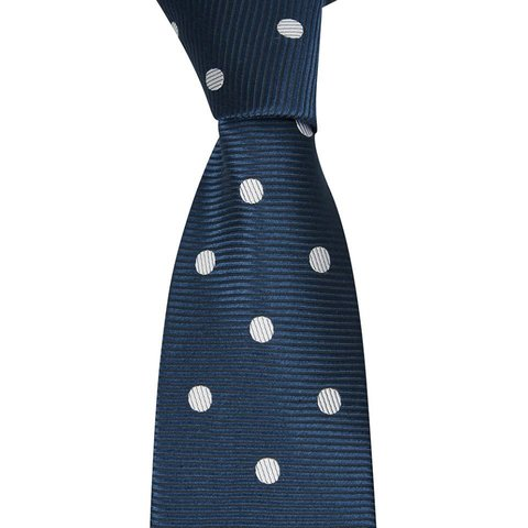 Woven Silk Tie, Spotted - Navy/White