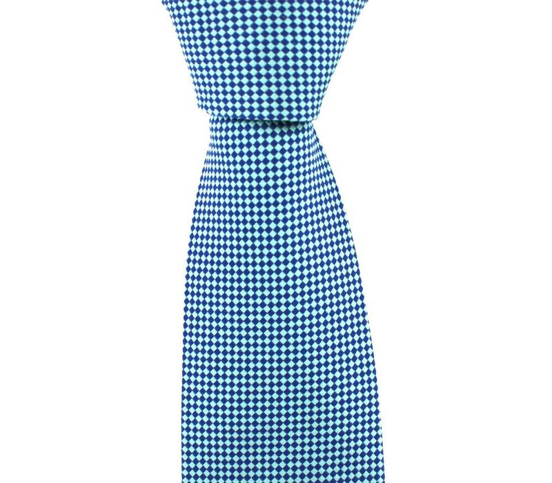 Woven Silk Tie, Checked - Pale Blue