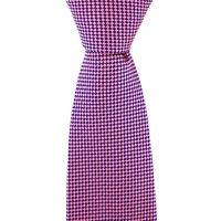 Woven Silk Tie, Checked - Pink and Blue