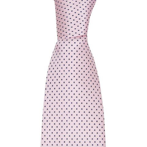 Woven Silk Tie, Spotted - Pale Pink/Navy