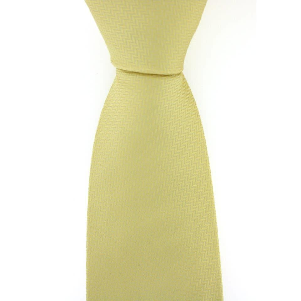 Woven Silk Tie, Herringbone - Pastel Yellow