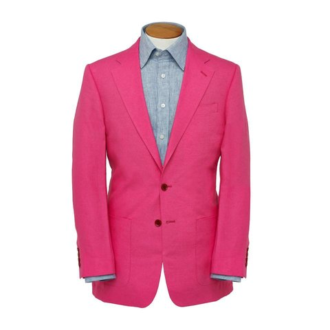 Single Breasted Linen Jacket - Fuchsia Pink