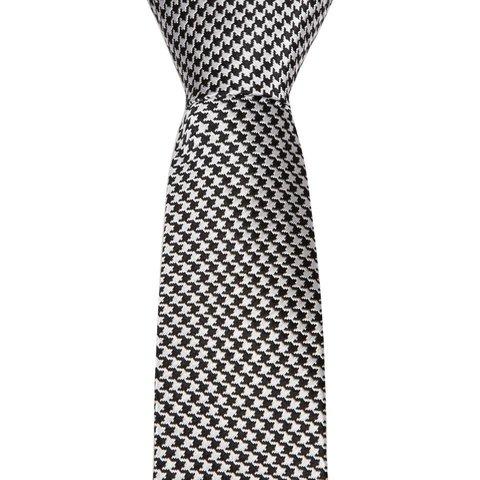 Woven Silk Tie, Houndstooth - Black