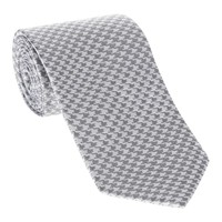Woven Silk Tie, Houndstooth - Silver