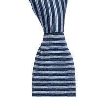Providence Silk Knitted Tie - Navy and Sky Blue