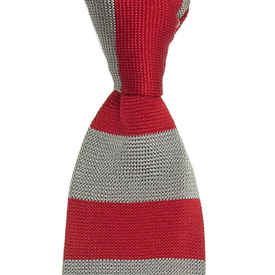 Rhodes Silk Knitted Tie - Red and Taupe
