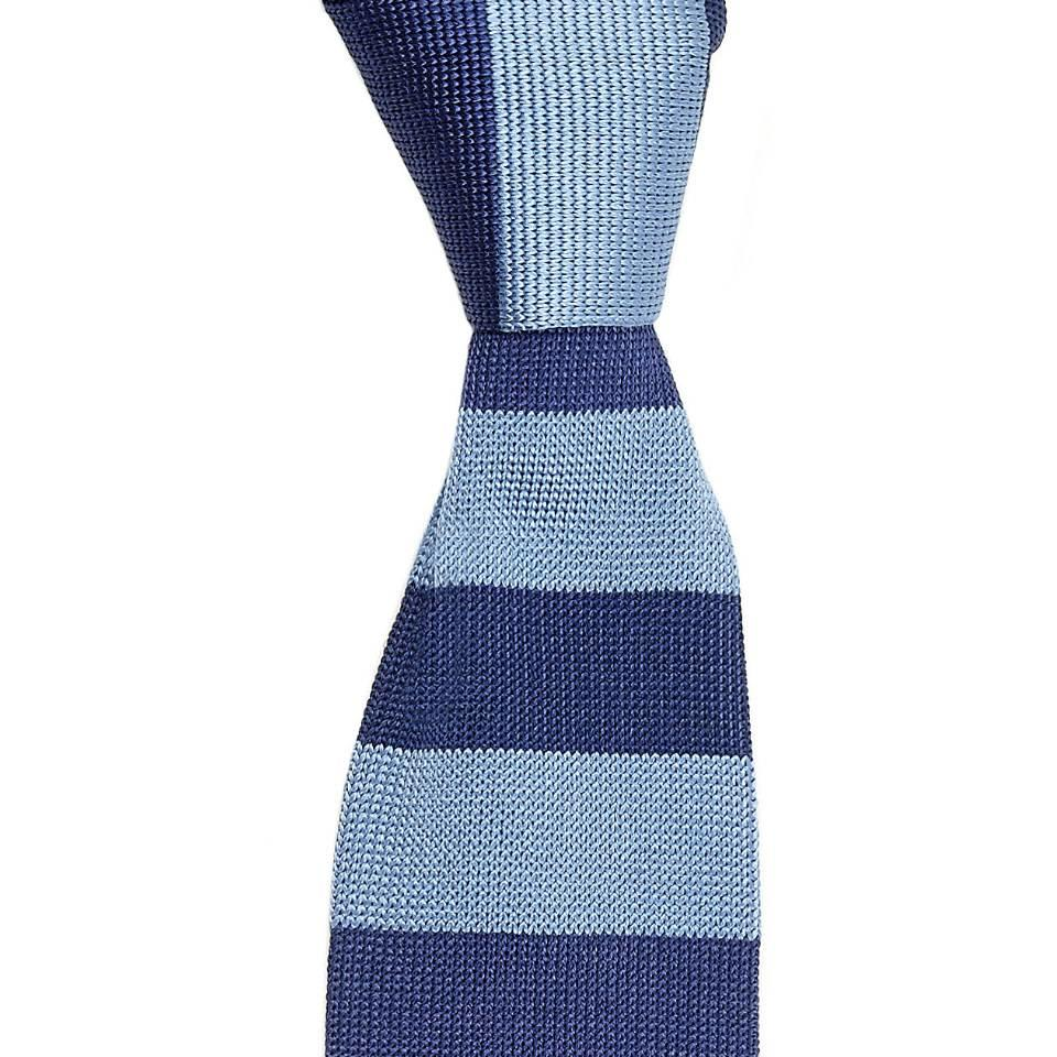 Rhodes Silk Knitted Tie - Navy and Sky Blue